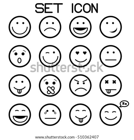 Outline Set Vector Icons Smiley Faces Stock Vector Royalty Free