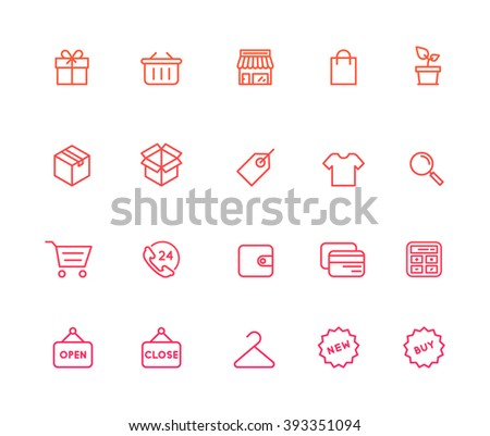 Outline Shopping Icons - stock vector