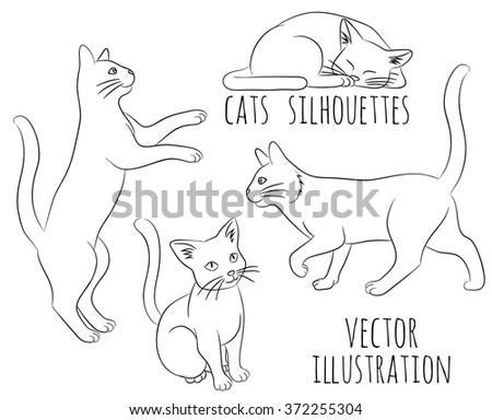 Outline silhouettes of cats. Vector illustration. - stock vector