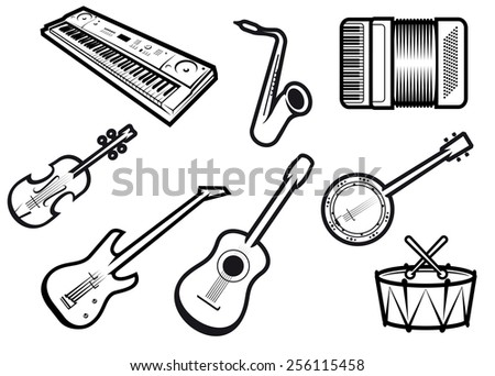 Outline sketch acoustic and electric musical instruments with guitars, violin, saxophone, synthesizer, drum, banjo and accordion for orchestra or band emblem design - stock vector