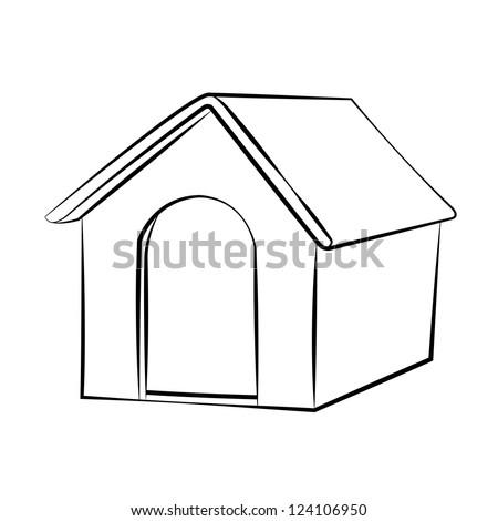 Outline Sketch Dog House Vector Illustration