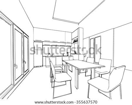 Outline Sketch Interior Space Stock Illustration 228907300 ...