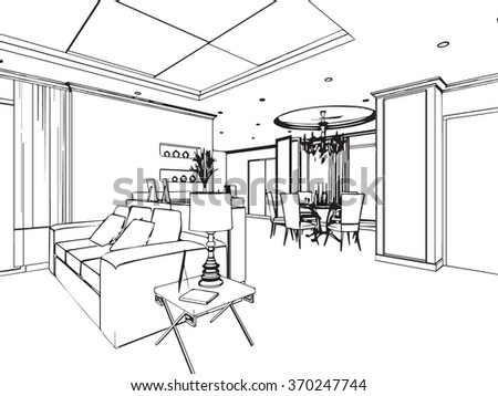 outline sketch drawing perspective of a interior space