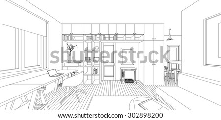 Room Sketch Stock Images Royalty Free Images Vectors Shutterstock