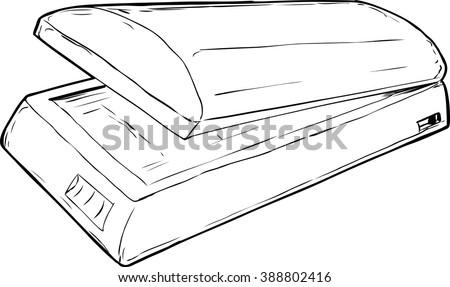 Outline Sketch Open Flatbed Scanner Empty Stock Vector ...