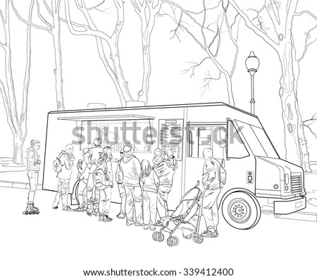 Outline sketch of people standing in row in front of fast food or ice cream cafe mobile car - stock vector