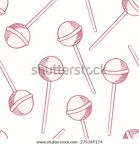 Outline sketched lollipop seamless pattern. Sweet candies vector illustration - stock vector