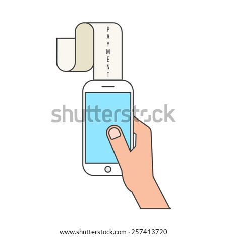outline smartphone and payment lettering on paycheck. concept of shopping, innovations, nfc, retail, sale processing, debit. isolated on white background. flat style modern design vector illustration - stock vector