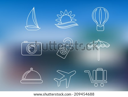 Outline style travel icons set with yacht, beach, balloon, camera, tag, umbrella, dish, airplane and luggage on blurred background for journey, logo and tourism design - stock vector