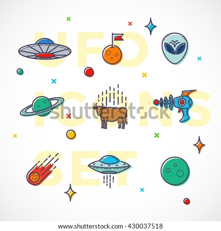 Outline Style Vector UFO or Alien Icons Set. Premium Space Symbols and Signs. Bright Colors. Isolated.