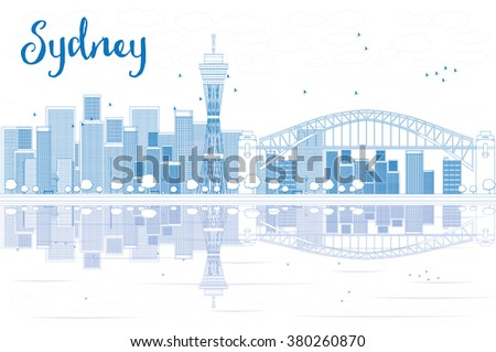 Outline Sydney City skyline with skyscrapers and reflections. Vector illustration. Business travel and tourism concept with place for text. Image for presentation, banner, placard and web site. - stock vector