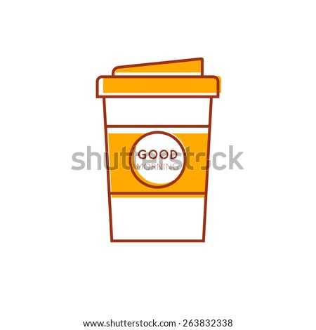 Outline take away coffee cup icon - stock vector