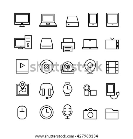 Outline Technology Icons Electronic Electronica Line Icon - stock vector