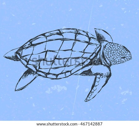 outline turtle swims on background sea and sea foam. Hand drawn outline sketch. vector illustration