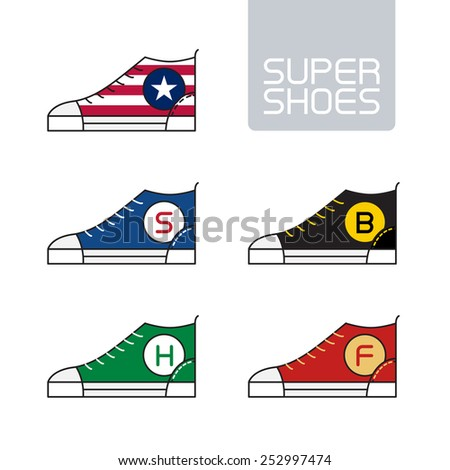 Outline urban super shoes. Vector Stylized sneakers. Sport icon, design element or logo in line style. - stock vector