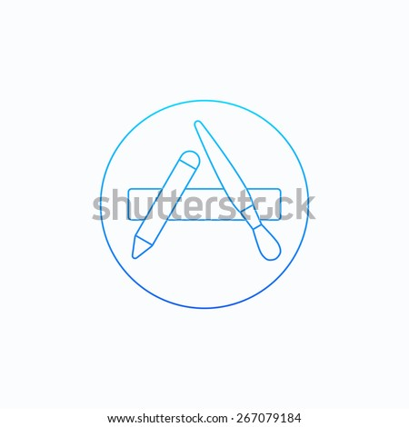Outline vector apps shop icon for web and mobile - stock vector