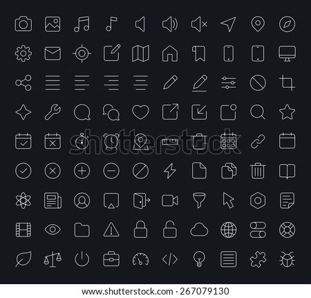 Outline vector icons for web and mobile. Thin 1 pixel stroke & 60x60 resolution - stock vector