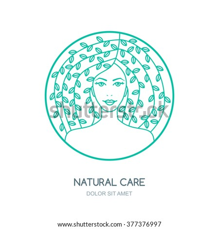 Outline vector illustration of woman with leaves in hair. Vector logo, badge, label design. Concept for beauty salon, natural and organic cosmetics product, cosmetology procedures, massage and spa.