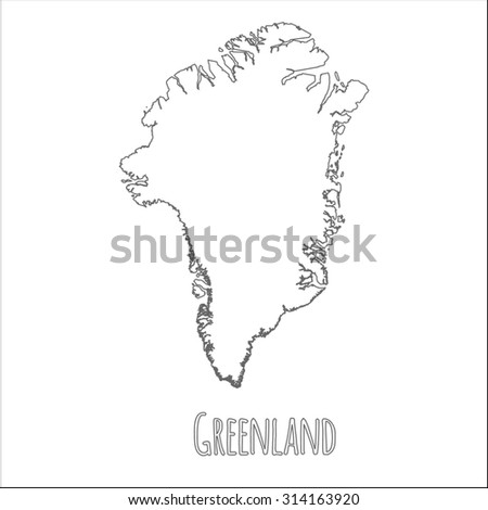 Outline vector map of Greenland. Simple Greenland border map. Vector silhouette on white background. - stock vector