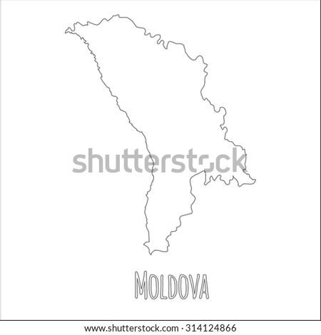 Outline Vector Map Moldova Simple Moldova Stock Vector - Moldova map outline
