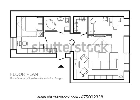Outline Vector Of Simple Furniture Plan Floor Symbol As Architecture Design Elements A