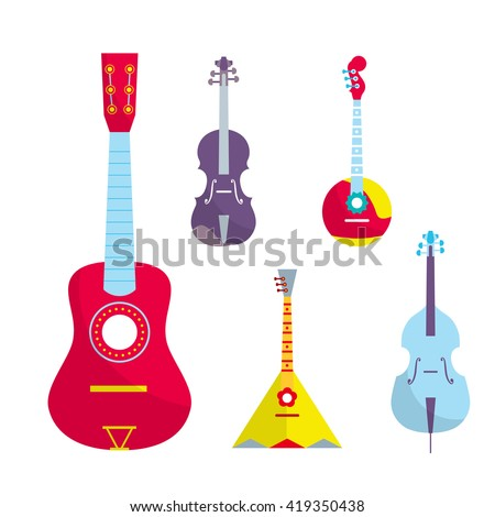 Outline vector stringed bowed musical instruments. Bright color