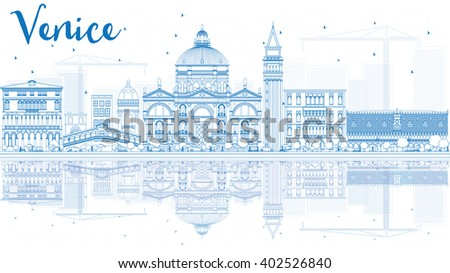 Outline Venice Skyline Silhouette with Blue Buildings. Vector Illustration. Business Travel and Tourism Concept with Historic Buildings and Reflections. Image for Presentation Banner and Placard. - stock vector
