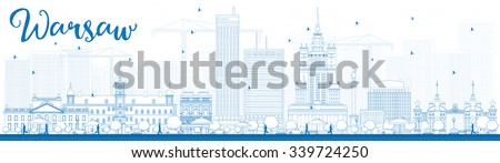 Outline Warsaw skyline with blue buildings. Vector illustration. Business travel and tourism concept with modern buildings. Image for presentation, banner, placard and web site. - stock vector