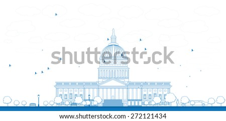 Outline Washington DC Capitol landscape, USA. Vector illustration. Business travel and tourism concept with place for text. Image for presentation, banner, placard and web site - stock vector