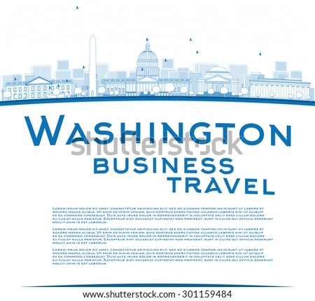 Outline Washington DC city skyline with copy space. Business travel concept. Vector illustration with cloud and sky - stock vector