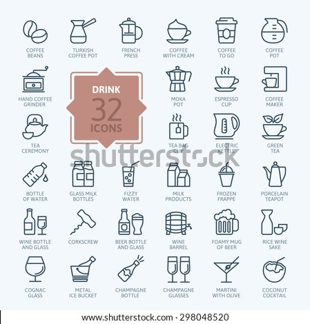 Outline web icon set - drink (coffee, tea, alcohol) - stock vector