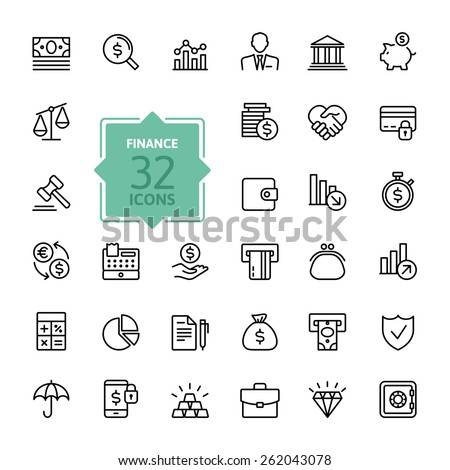 Outline web icon set - money, finance, payments - stock vector