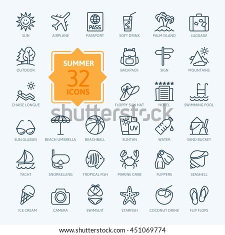 Outline web icon set - summer, vacation, beach - stock vector
