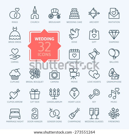 Outline web icon set - wedding - stock vector