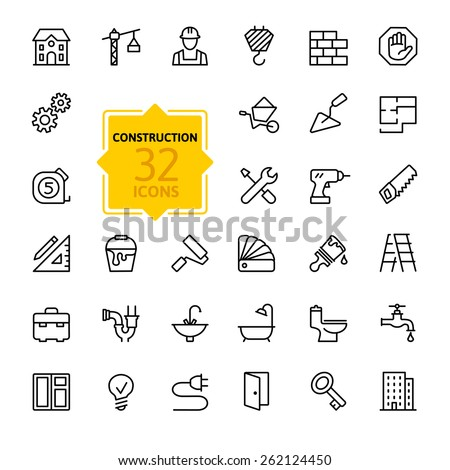 Outline web icons set - building, construction and home repair tools  - stock vector