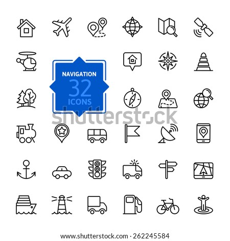 Outline web icons set - navigation, location, transportation - stock vector