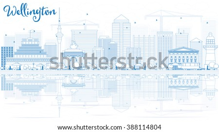 Outline Wellington skyline with blue buildings and reflections. Vector illustration. Business travel and tourism concept with place for text. Image for presentation, banner, placard and web site. - stock vector