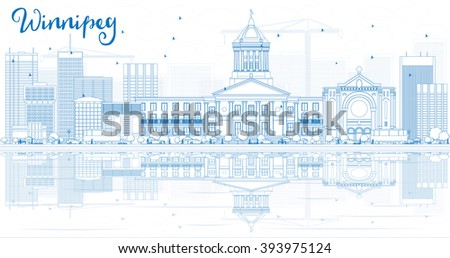 Outline Winnipeg Skyline with Blue Buildings and Reflections. Vector Illustration. Business Travel and Tourism Concept with Modern Buildings. Image for Presentation Banner Placard and Web Site. - stock vector