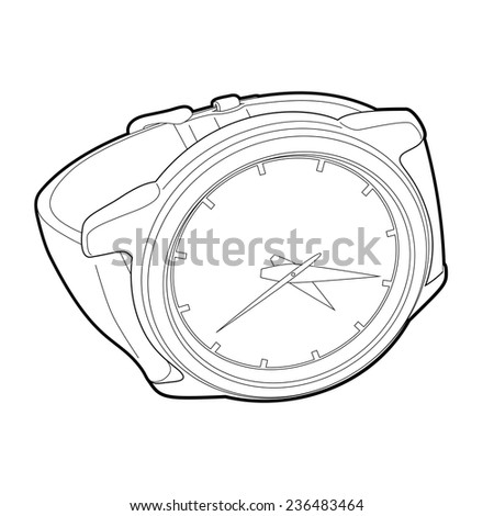 outline wristwatch on white background - stock vector
