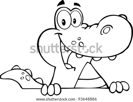 Outlined Alligator Or Crocodile Over A Sign - stock vector