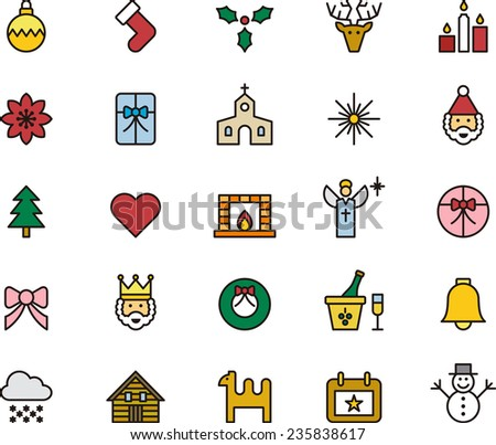 Outlined and Colored Christmas icons