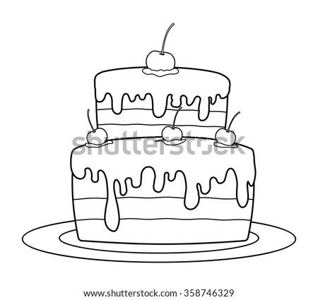 Outlined Birthday Cake Coloring Book Vector Stock Vector 358746329 ...