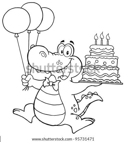 Outlined Birthday Crocodile Holding Up A Birthday Cake With Candles.Vector Illustration - stock vector