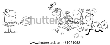 Outlined Businessman Using A Magnet Attracts People With Money - stock vector