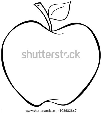 Outlined Cartoon Apple Vector Illustration