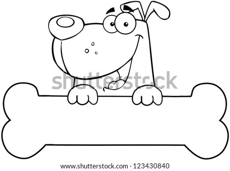 Outlined Cartoon Dog Over Bone Banner - stock vector