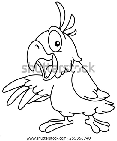 Outlined Cartoon parrot presenting with his wing. Vector illustration coloring page. - stock vector