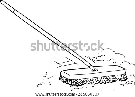 outlined cartoon push broom sweeping dust over white - Push Broom