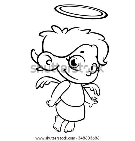 Outlined Christmas Angel Coloring Page Stock Vector (2018) 348603686 ...