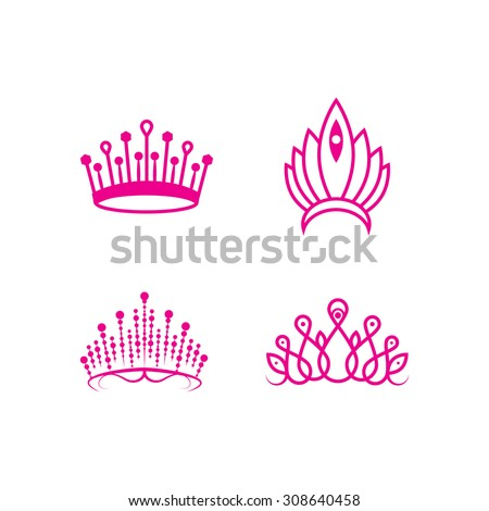 Outlined crown pageant set - stock vector